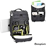 Beaspire 14-inch Laptop Camera Backpack Professional Hiking and Travel Bag with Dividers Laptop Compatible with DSLR Sony Canon Nikon Olympus Cameras Lens and Accessories fit Men and Women(Dark)