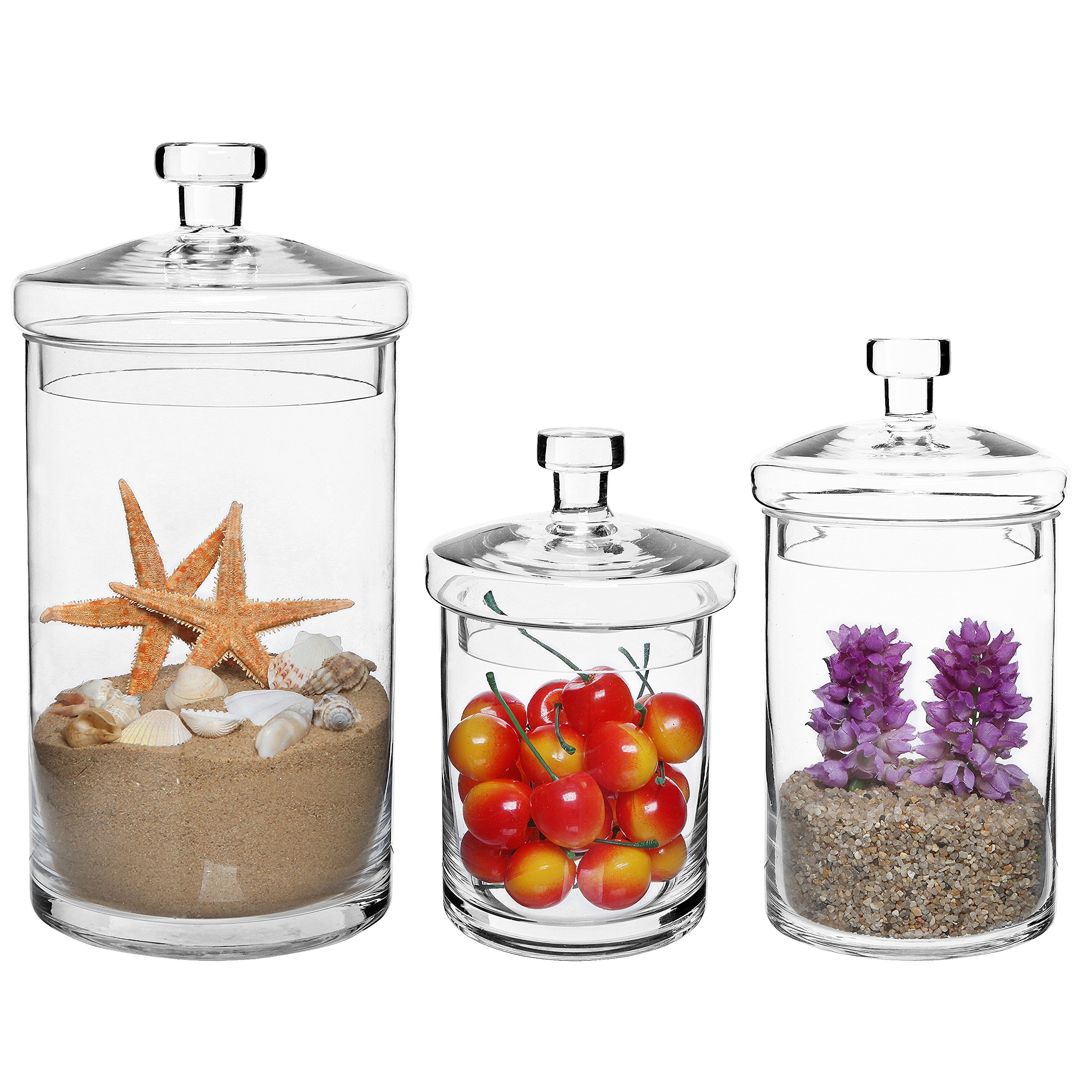 MyGift Set of 3 Clear Glass Kitchen & Bath Storage Canisters/Decorative Centerpiece Apothecary Jars with Lids by MyGift