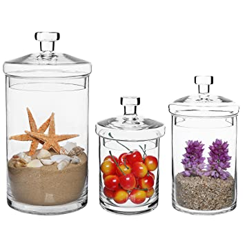 Set Of 3 Clear Glass Kitchen Bath Storage Canisters Decorative Centerpiece Apothecary Jars With