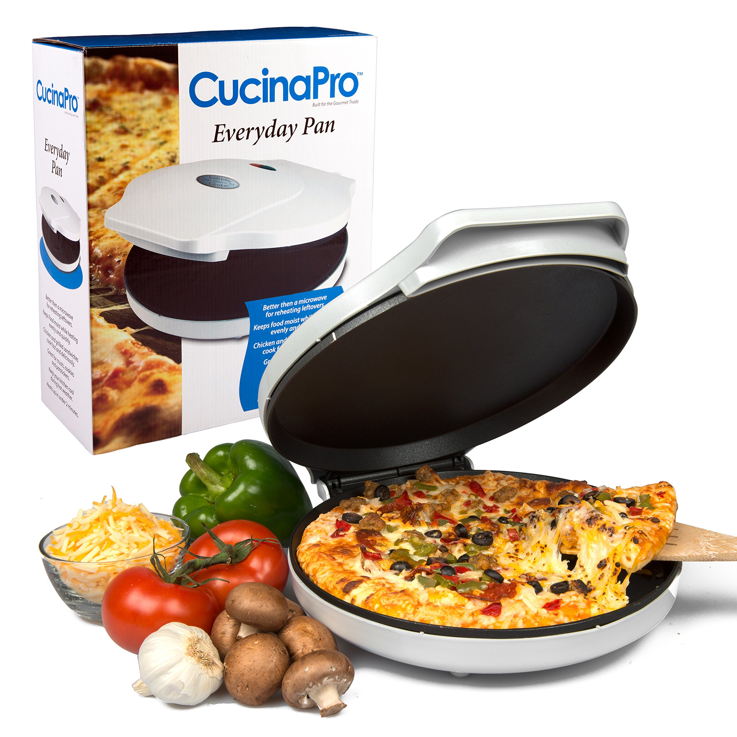 CucinaPro Pizza Maker and Everyday Baker - Electric Griddle Grill Pan Heats and Reheats in less than 2 minutes, White