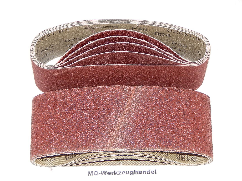 25 St/ück Gewebe-Schleifb/änder 75 x 533 mm K/örnung je 5 x 40//60//80//120//180 f/ür Bandschleifer