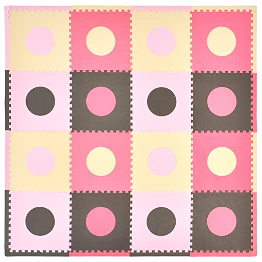 Tadpoles 16 Sq Ft Pink/Brown Playmat Set