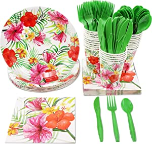 Hawaiian Luau Dinnerware Set, Tropical Party Supplies (Serves 24, 144 Pieces)