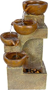 Alpine Corporation 4-Tier Pouring Pots Fountain - Tabletop Indoor/Outdoor Water Fountain for Yard, Patio, Garden - Brown