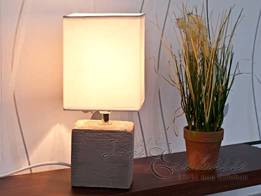 Tischlampe Stoffschirm weiß LED Tischleuchte mit Keramikfuß Nachttischlampe