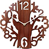 Sehaz Artworks Tree Bird Round Wood Wall Clock (25 cm x 25 cm x 2.8 cm, Brown)