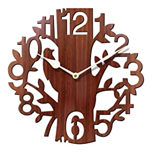 Sehaz Artworks Tree Bird Round Wood Wall Clock (25 cm x 25 cm x 2.8 cm, Brown)