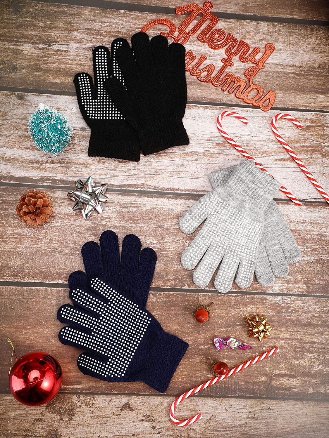 Boao 3 Pairs Kids Gloves Full Finger Mittens Winter Knitted Gloves for Little Boys and Girls Supplies Color Set 3, 7-11 Years Size