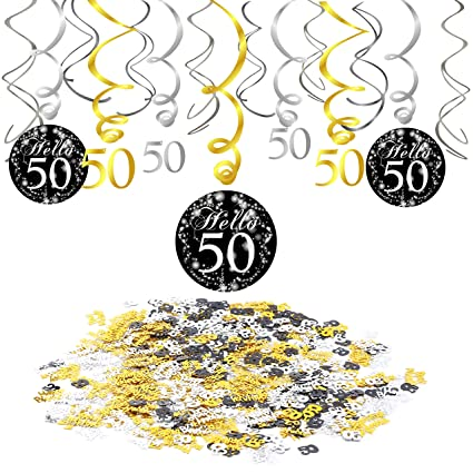 50th Birthday Decoration Konsait Hanging Swirl 15 Counts Happy