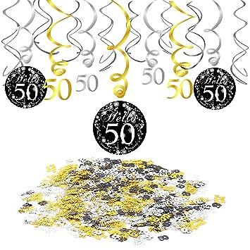Konsait 50 cumpleaños Negro Colgar Remolino decoración de Techo (15 Cuentas), Feliz cumpleaños & 50 Mesa Confeti (1.05 oz) para Decoraciones de 50 ...