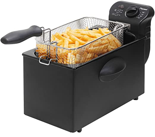Bestron AF357B Freidora Cool Zone, Para 1 kg de alimentos, 2000 W, 3.5 litros, Metal, Negro