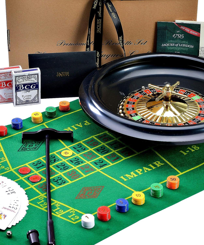 Gran rueda de ruleta de lujo de 40 cm / 16 pulgadas - Juego de ruleta, con tarjetas Black Jacks, pelotas, paño de juego - Set completo - Jaques of London