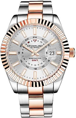 Stuhrling Original Reloj de Acero Inoxidable Northstar GMT para Hombre, Cuarzo Suizo, Hora Doble