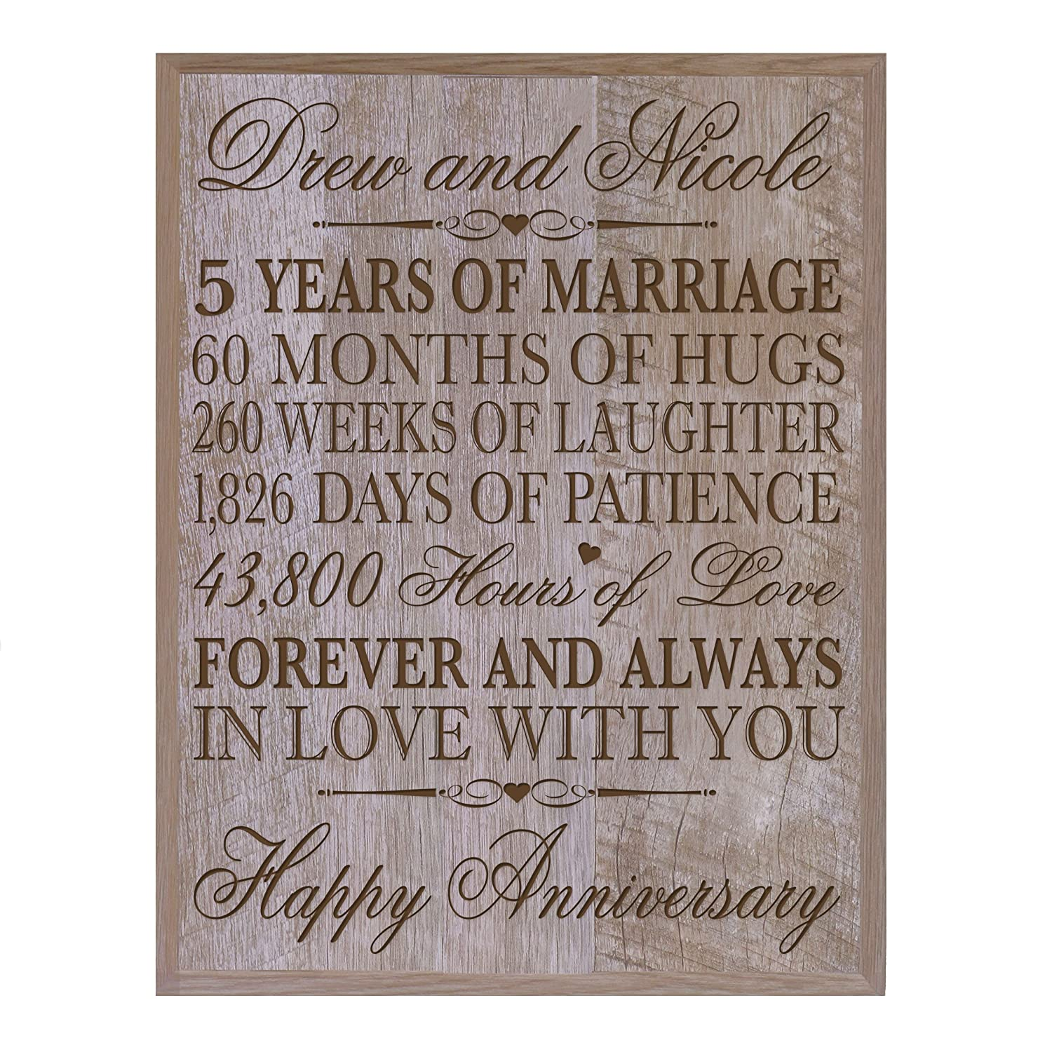 Personalized 5th Wedding Anniversary Wall Plaque Gifts for Couple, Custom Made 5th Anniversary Gifts for Her,5th Wedding Anniversary Gifts for Him Plaque By LifeSong Milestones (Walnut)