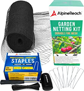 AlpineReach Garden Netting Kit 7.5 x 65 Feet Black & 200 Galvanized Steel Staples & 16 oz Mallet