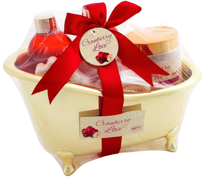 BRUBAKER 6 Pcs Gift Set 'Cranberry Love' Beauty Spa Set With Golden Bathtub, Bath Fizzer, Bubble Bath, Shower Gel, Bath Salt, Soap