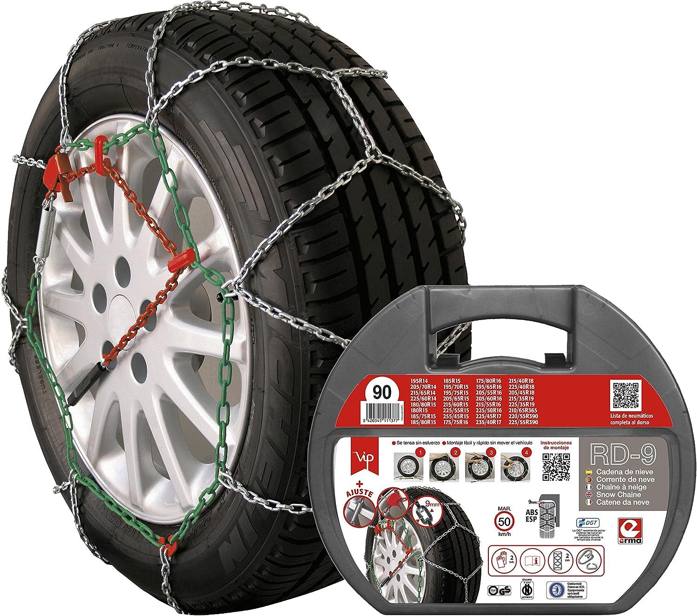 RD9 - Cadenas de nieve metálicas RD9 mm, talla Nº 90, set 2 uds, guantes incluidos
