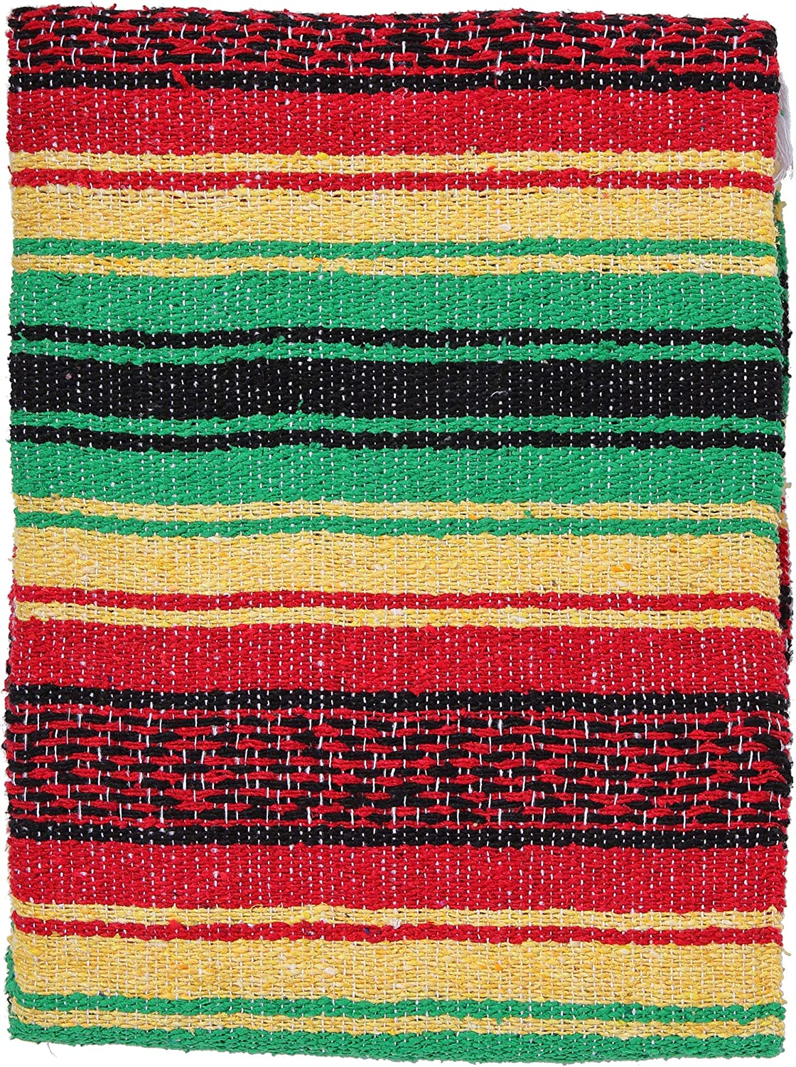 "Authentic Mexican Falsa Hand Woven Blanket 74/"" x 50/""  Yoga// Imported"