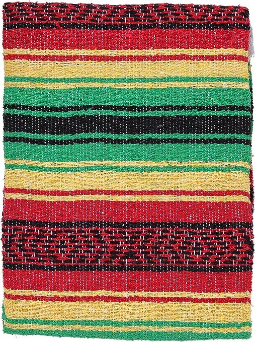 FALSA Mexican Blanket Hand Woven RASTA Serape Throw Yoga Mat Southwest Fiesta