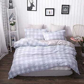 Belles Maison 100% Organic Cotton Duvet Cover Set Gray Blue And Coffee  Plaid Bedding,