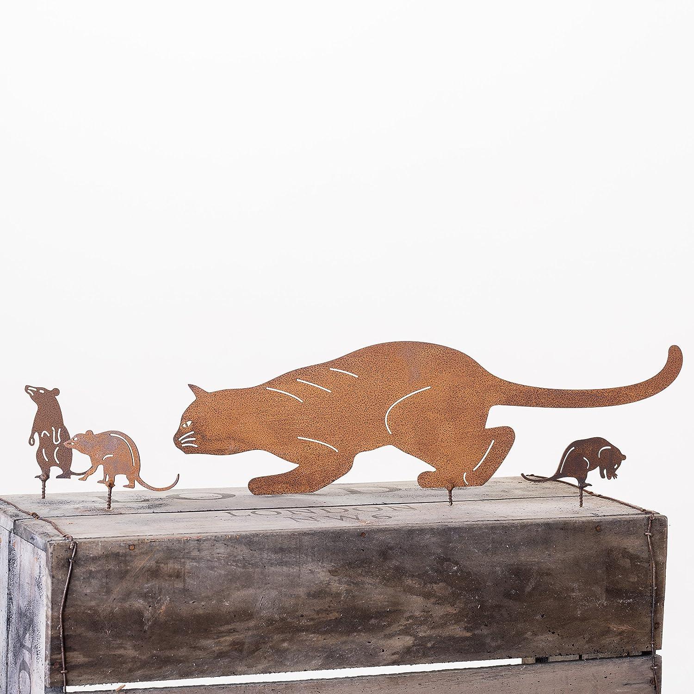 Oxidado Metal gato y ratón decoración para valla o cobertizo ...