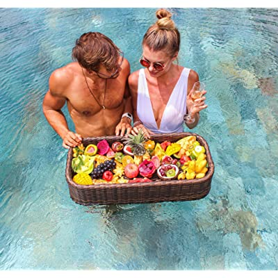 Floating Tray Luxury Floating Serving Tray Table and Bar - Swimming Pool Floats for Adults for Sandbars, Spas, Bath, and Parties | Floating Tray for Pool Serving Drinks, Brunch, Food on the Water : Garden & Outdoor