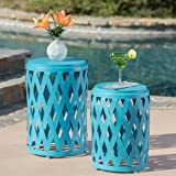 Ellen Nestable Outdoor Small and Large Iron Side Table Set (Set of 2) (Matte Blue)