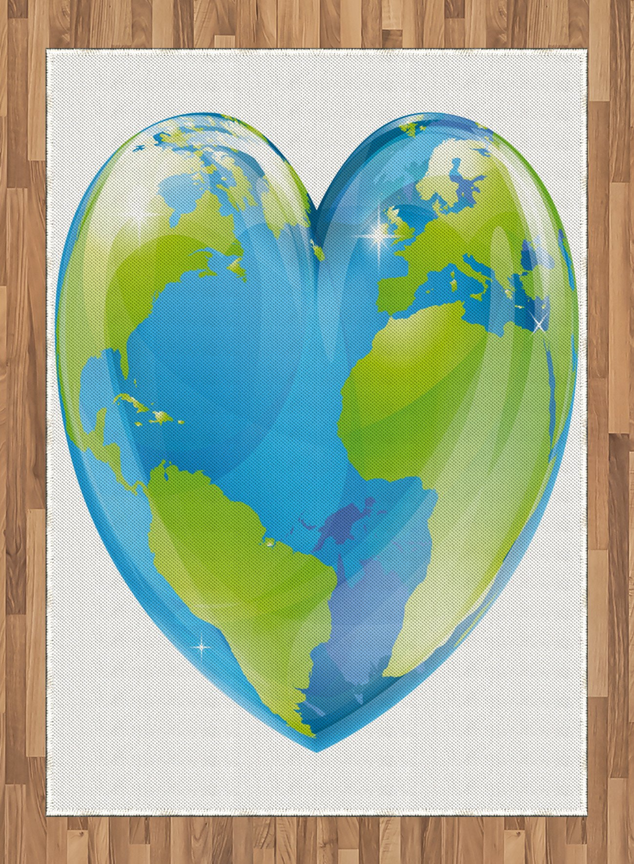 Earth Area Rug by Ambesonne, Vibrant Globe of Earth in Heart Shape Love The World Care for Environment, Flat Woven Accent Rug for Living Room Bedroom Dining Room, 5.2 x 7.5 FT, Pale Blue Lime Green