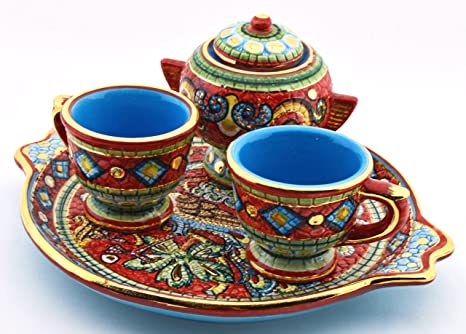Art Escudellers Servicio CAFÉ X2 Tazas con AZUCARERO Ceramica Pintado a Mano con Oro de 24K