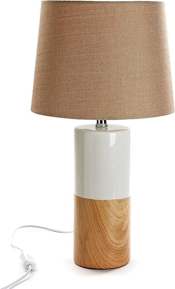 Versa 21280003 Lámpara de mesa, Cerámica, Blanco y beige ...