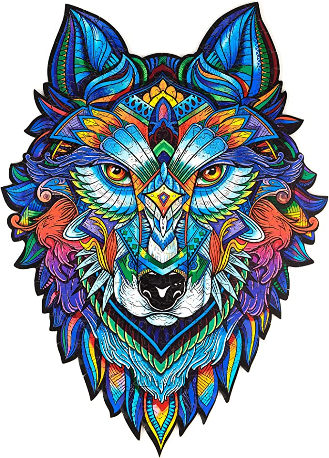 Amazon.com: Unidragon Wooden Puzzle Jigsaw, Best Gift for Adults and Kids, Unique Shape Jigsaw Pieces Majestic Wolf, 11.8 x 16.1 in (30 х 41 cm) 310 pcs, King Size: Toys & Games