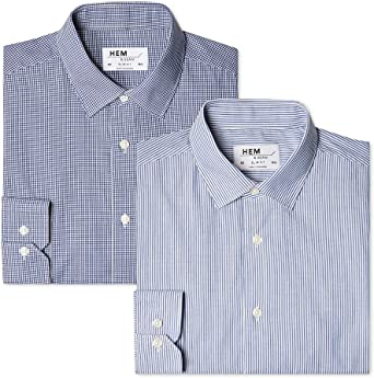 Marca Amazon - find. Camisa de Rayas Slim Fit Hombre, Pack de ...