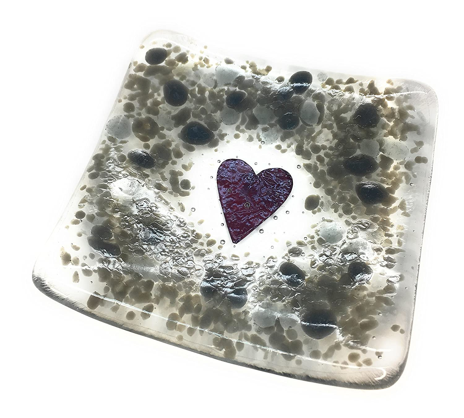 Grey heart fused glass trinket dish tea light candle holder - perfect for earrings, rings, bits & bobs, keys - handmade in East Sussex - free gift wrapping included - Lovely Birthday, Christmas, Wedding, Anniversary, Teachers gift - for your desk, bed