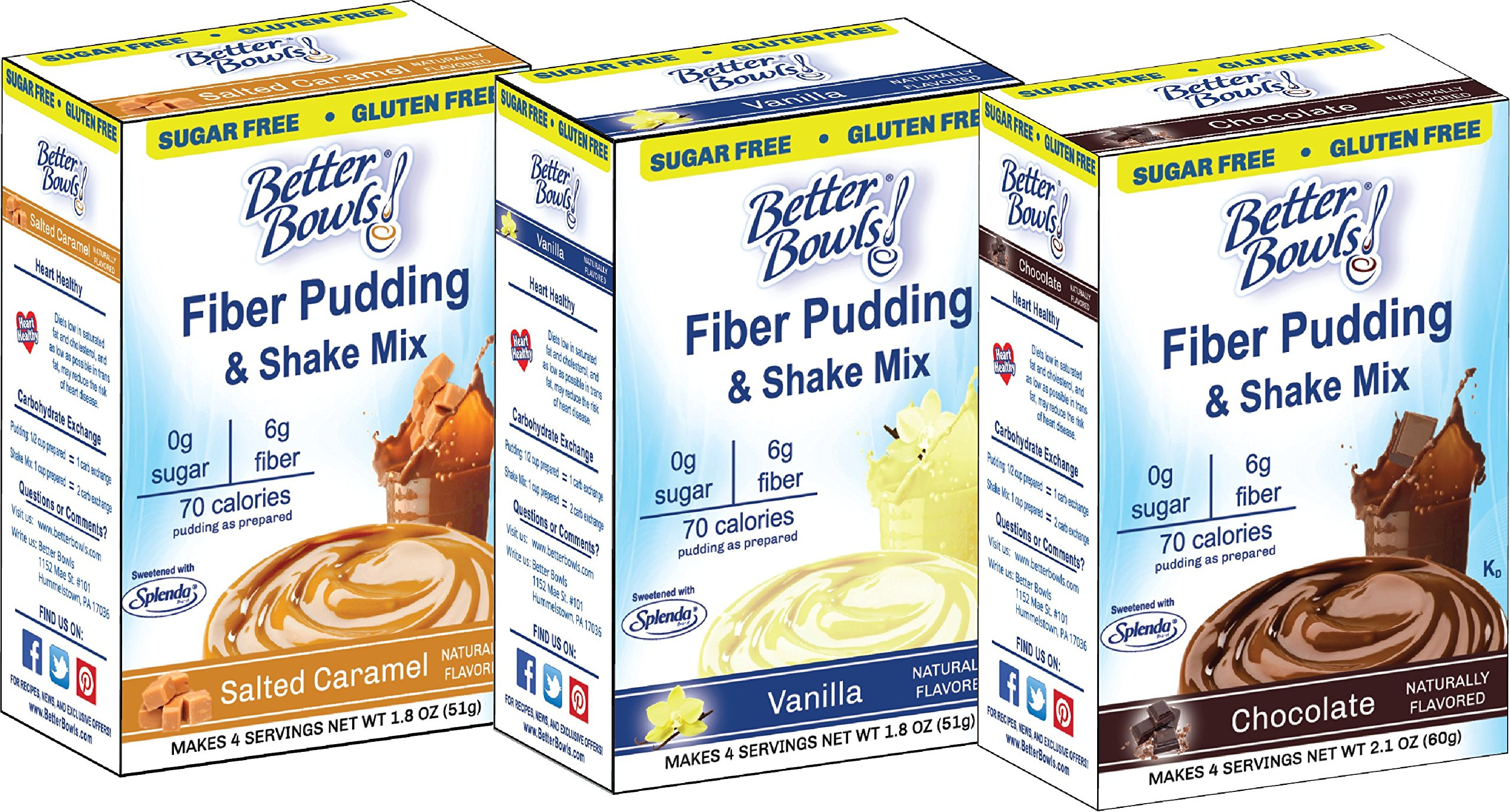 Better Bowls Sugar Free Chocolate, Vanilla and Salted Caramel Variety Pudding (Pack of 6)