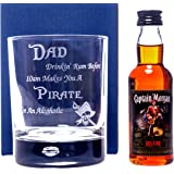 DAD PIRATE RUM DESIGN Bubble Based Glass + Captain Morgan Rum Miniature Alcohol Gift Set