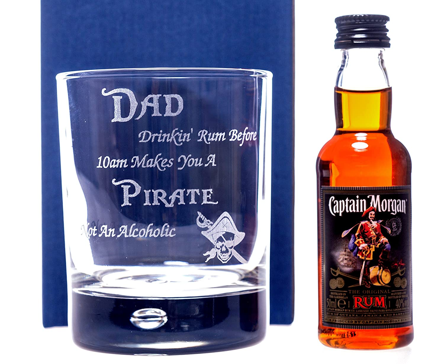DAD PIRATE RUM DESIGN Bubble Based Glass + Captain Morgan Rum ...