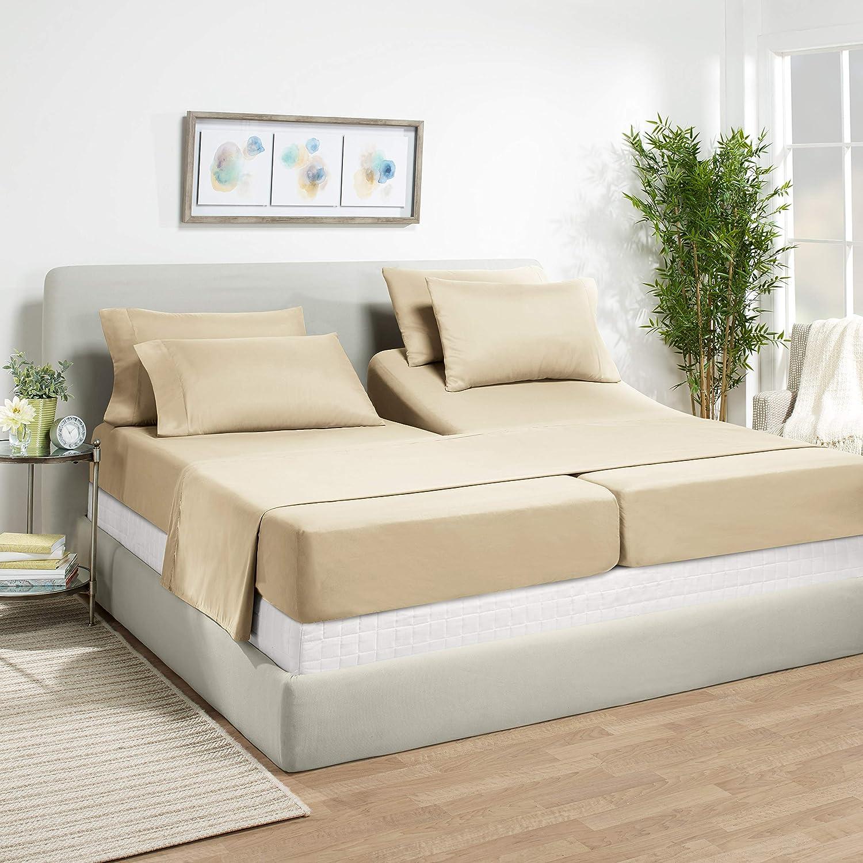 7 Piece Split King Sheets - Bed Sheets Split King Size – Bed Sheet Set Split King Size - 7 PC Sheets - Deep Pocket Sheets Microfiber Bedding Sets Hypoallergenic Sheets - Split King - Beige Cream