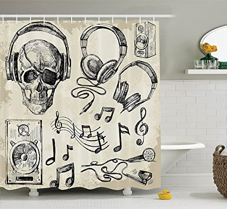 Amazoncom Mirryderr Music Decor Shower Curtain Set Sketchy Music