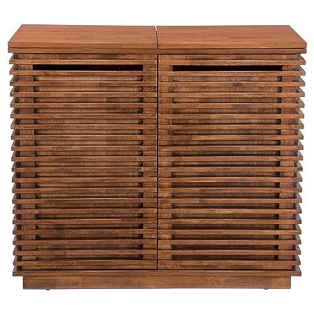 Aprodz Mango Wood Wine Storage Coal Stylish Bar Cabinet for Living Room | Walnut Finish
