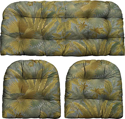 Cheap RSH D cor Indoor Outdoor 3 Piece Tufted Wicker Settee Cushions 1 Loveseat 41″ Lx19 D 2 U-Shape 19″x19″ Weather Resistant Choose Color Tommy Bahama Bahamian Breeze Surf outdoor chair cushion for sale