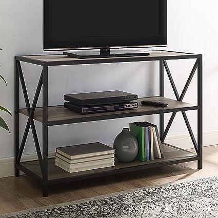 WE Furniture AZS40XMWGW Mixed Material Bookshelf Grey Wash