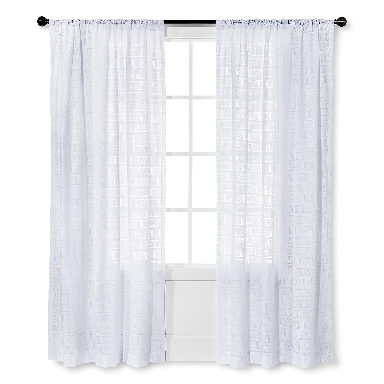 Amazon Nate Berkus Diagonal Burnout Sheer Curtain Panel