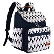Diaper Bag Backpack with Baby Stroller Straps by HYBLOM, Stylish Travel Designer and Organizer for Women & Men, 12 Pockets, Blue Triangle