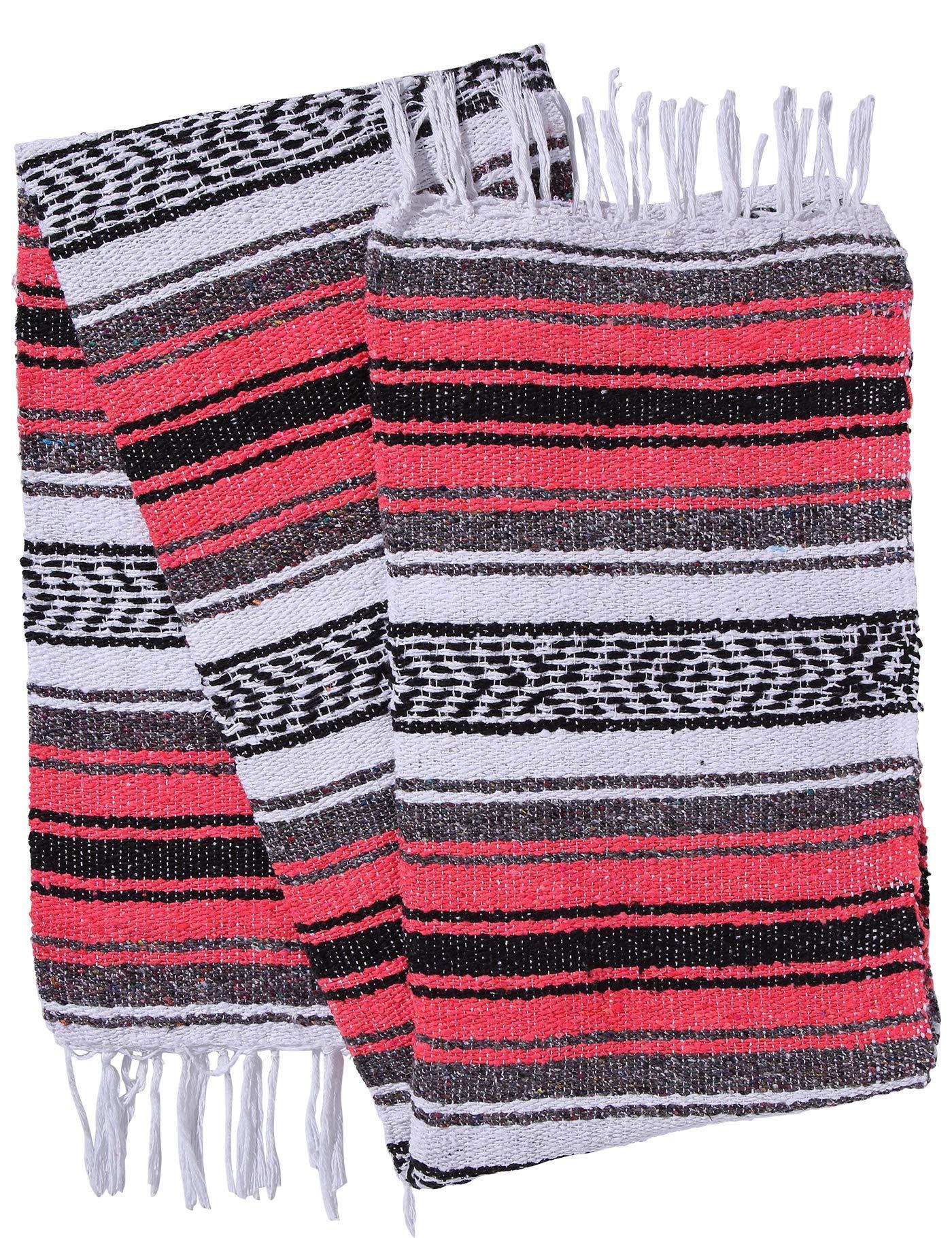 El Paso Designs Genuine Mexican Falsa Blanket - Yoga Studio Blanket, Colorful, Soft Woven Serape Imported from Mexico (Bright Coral) by El Paso Designs (Image #3)