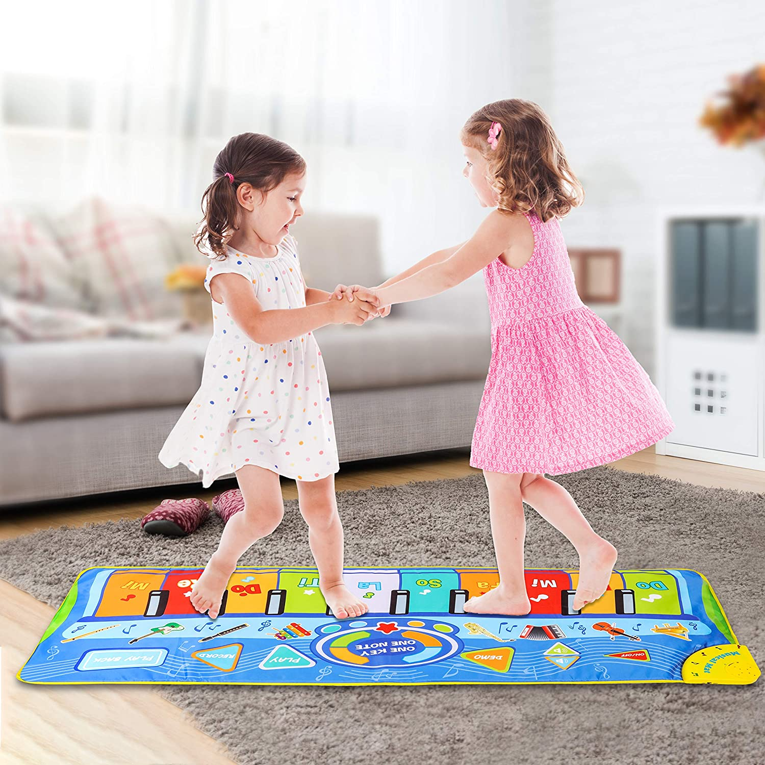 Birthday Christmas Easter Day Gift for Kids Toddler Girls Boys 50 x 18.5 inches Play -Record -Playback -Demo-OKOT-Mode Musical Piano Mat Piano Keyboard Play Mat with 8 Musical Instruments