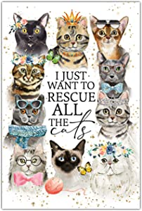 Rescue The Cats Wood Plaque with Inspiring Quotes 6