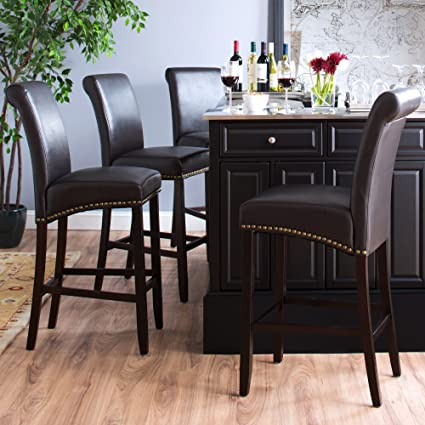 Castleton Home Parsons Bar Stool   Espresso Bonded Leather (Set Of 2)