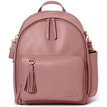 5f0cb21dabec Amazon.com : Skip Hop Diaper Bag Backpack, Greenwich Multi-Function Baby  Travel Bag with Changing Pad and Stroller Straps, Vegan Leather, Dusty Rose  with ...