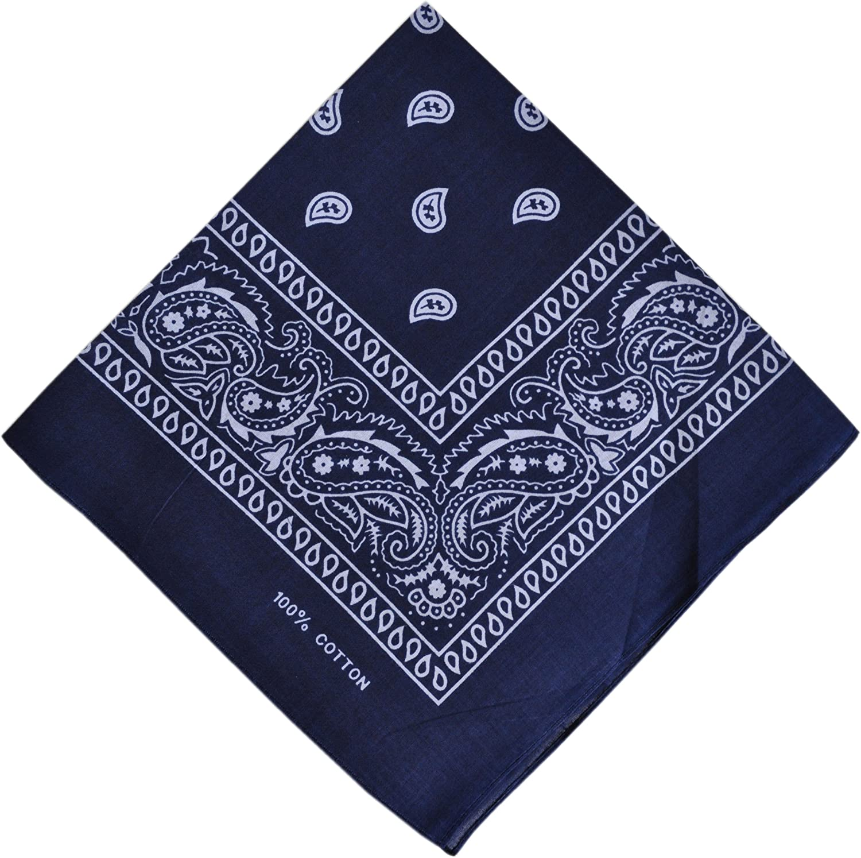 foulard uni en coton Bleu marine Bandana