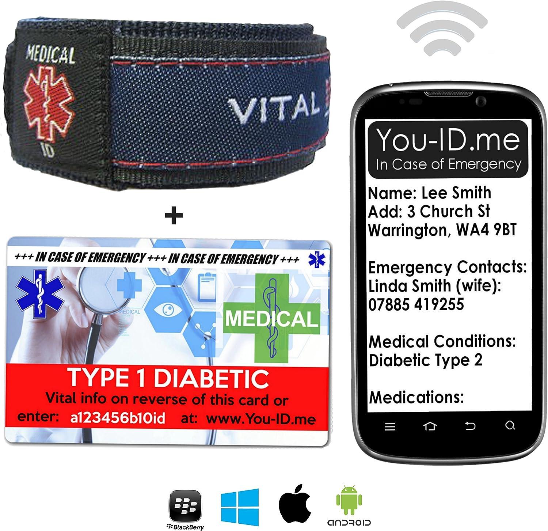 Pulsera de identificación médica de diabetes tipo 1 SMS y tarjeta de identidad con You ID Me Servicio de alerta médica de emergencia para hombres y mujeres